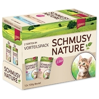 Schmusy Nature Kitten multibox, két ízzel - 2 x 6 db alutasak
